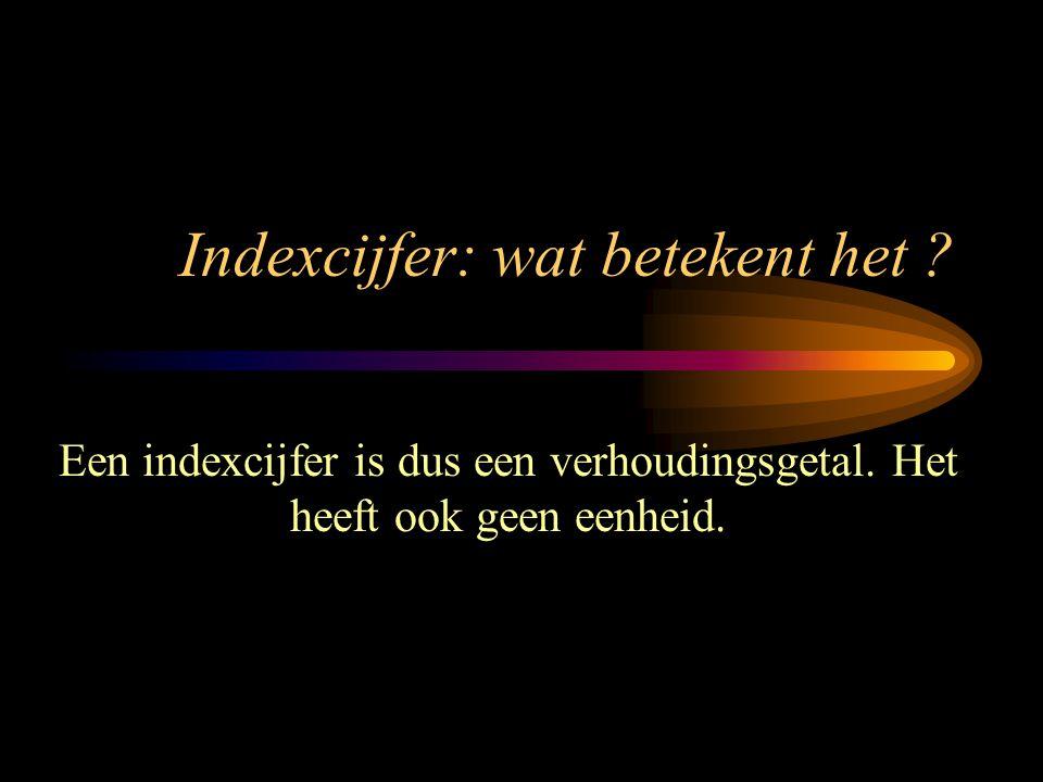 Indexcijfer: wat betekent het ? Een indexcijfer is dus een verhoudingsgetal. Het heeft ook geen eenheid.