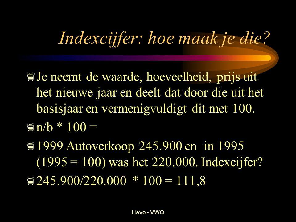 Havo - VWO Indexcijfer: hoe maak je die? JJe neemt de waarde, hoeveelheid, prijs uit het nieuwe jaar en deelt dat door die uit het basisjaar en verm