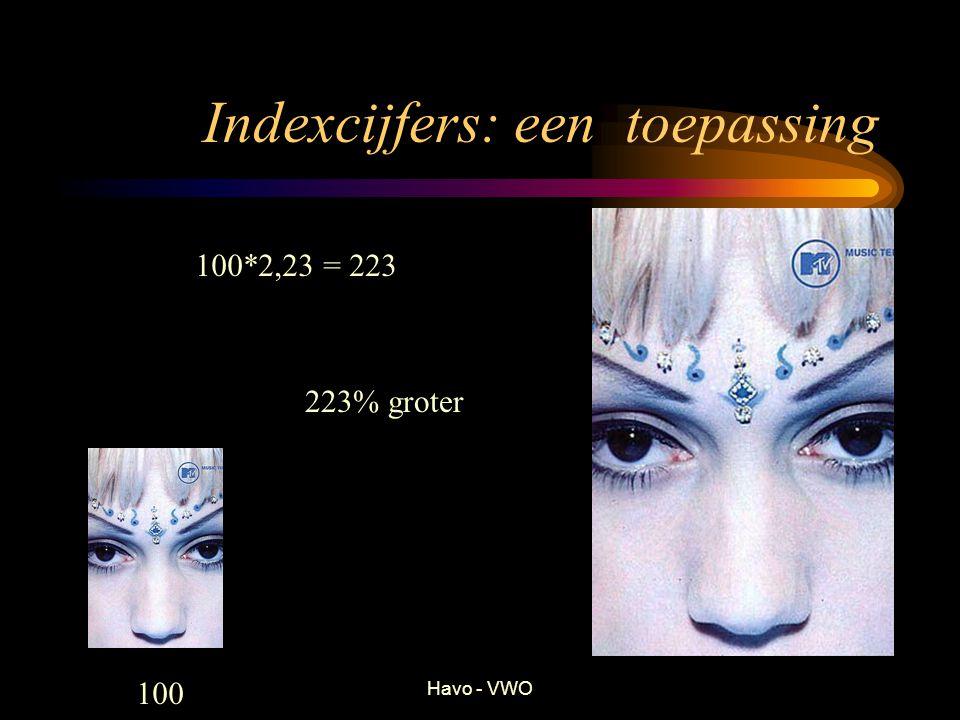 Havo - VWO Indexcijfers: een toepassing 223% groter 100*2,23 = 223 100