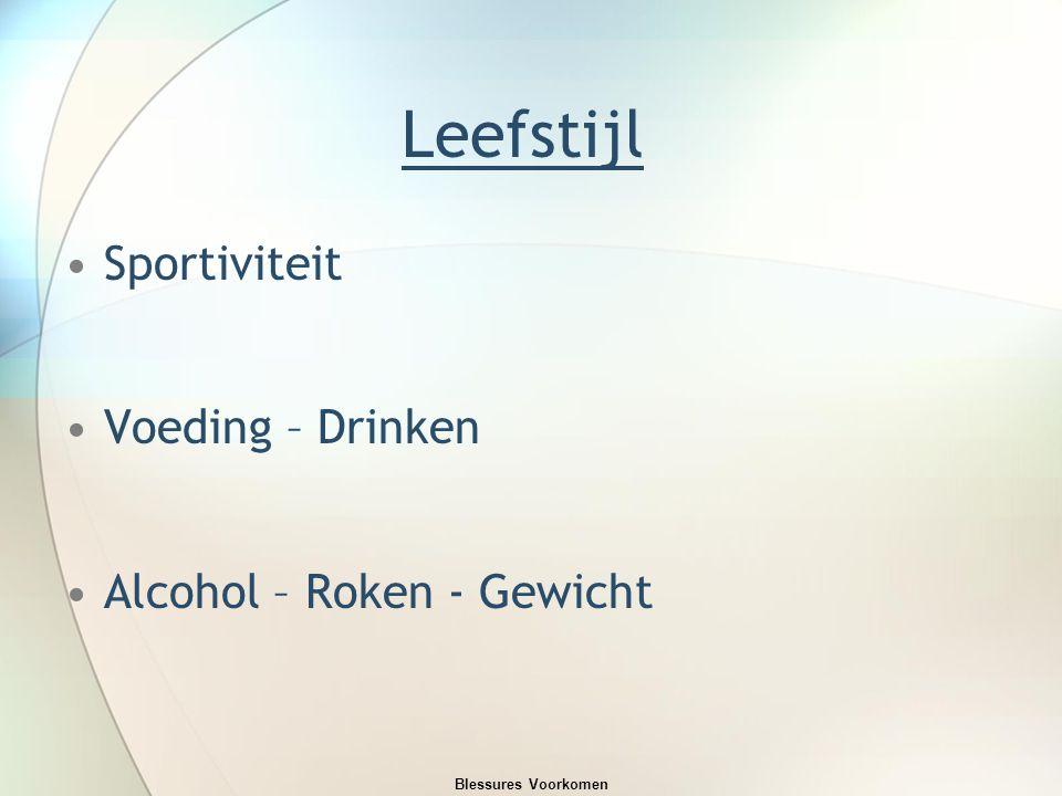 Leefstijl Sportiviteit Voeding – Drinken Alcohol – Roken - Gewicht Blessures Voorkomen