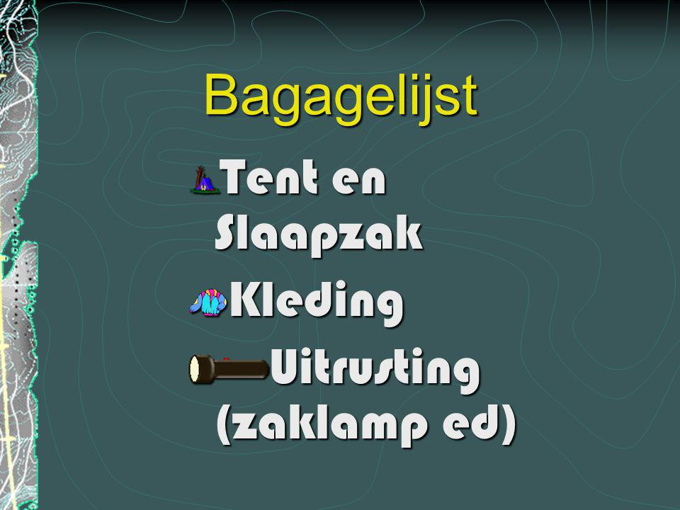 Bagagelijst Tent en Slaapzak Kleding Uitrusting (zaklamp ed)