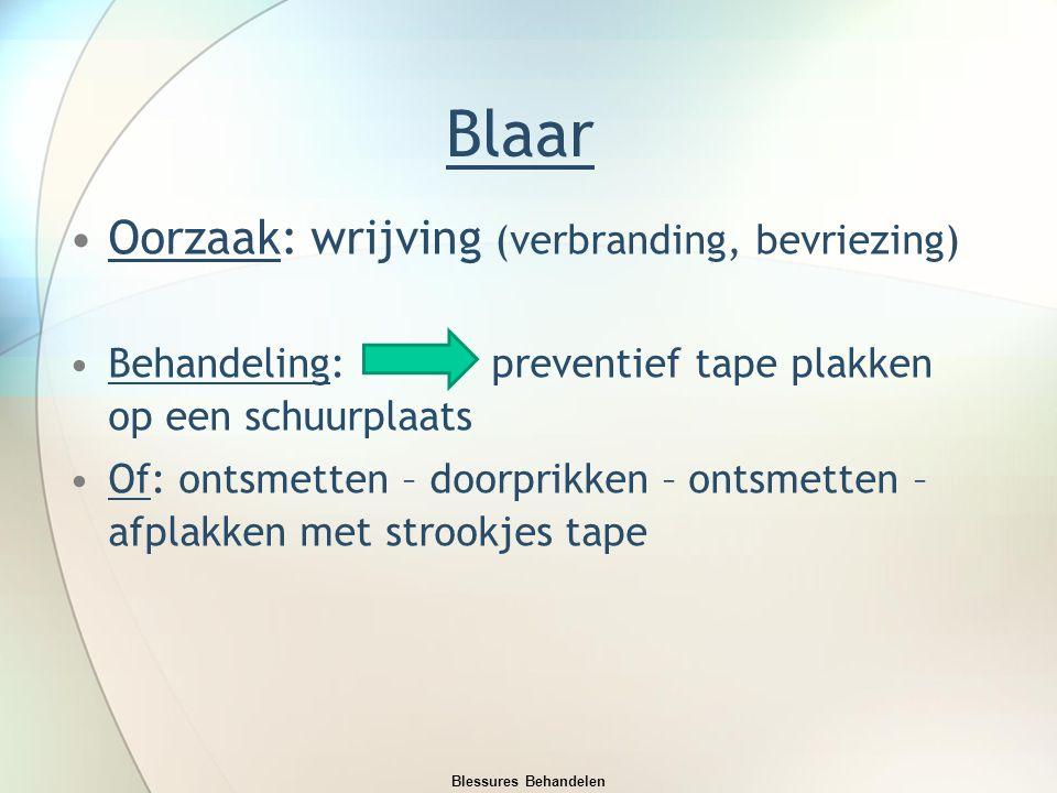Blaar Oorzaak: wrijving (verbranding, bevriezing) Behandeling: preventief tape plakken op een schuurplaats Of: ontsmetten – doorprikken – ontsmetten –
