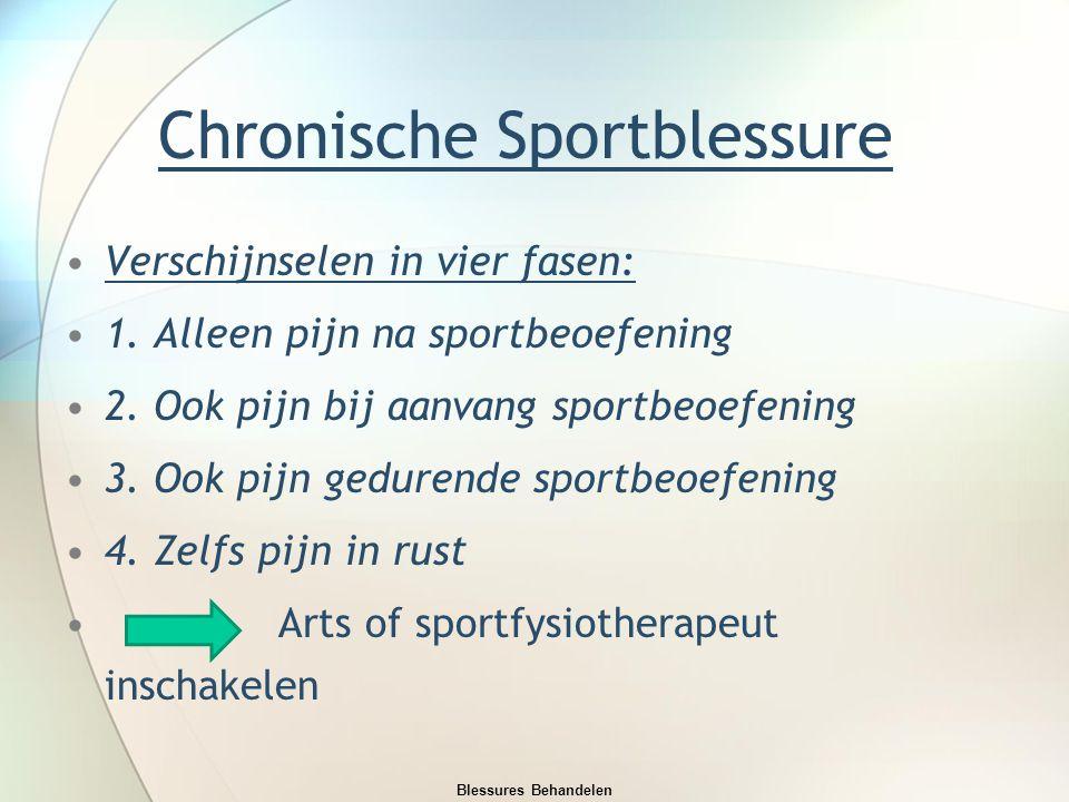 Chronische Sportblessure Verschijnselen in vier fasen: 1. Alleen pijn na sportbeoefening 2. Ook pijn bij aanvang sportbeoefening 3. Ook pijn gedurende
