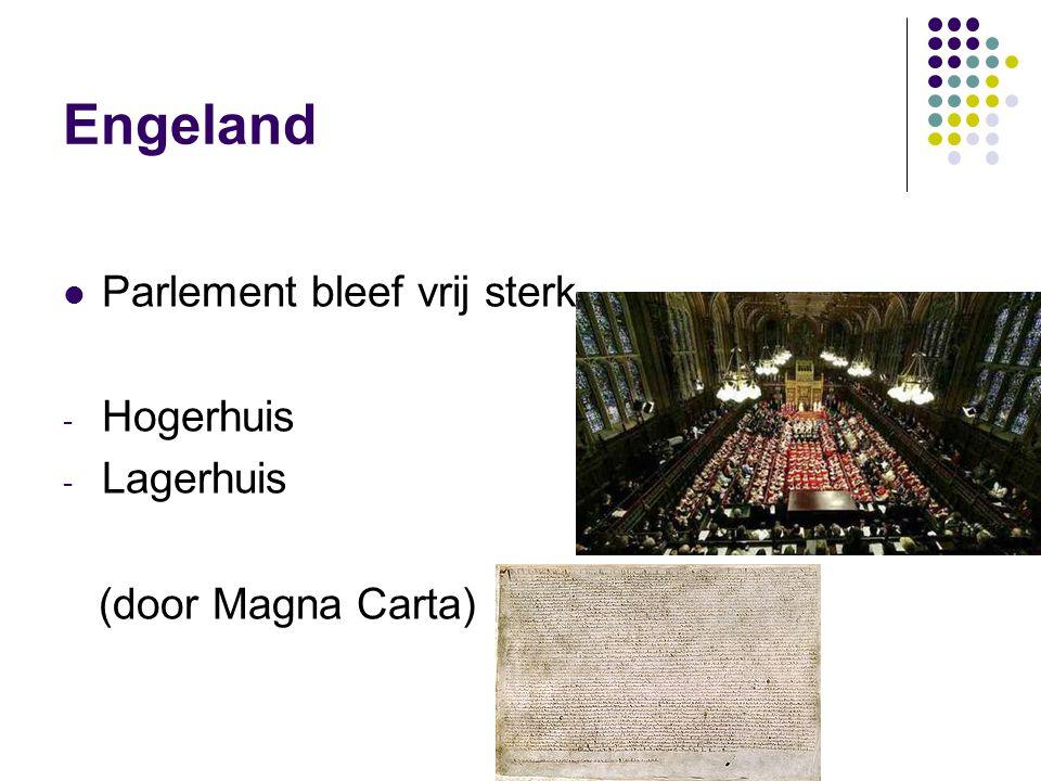 Engeland Parlement bleef vrij sterk - Hogerhuis - Lagerhuis (door Magna Carta)