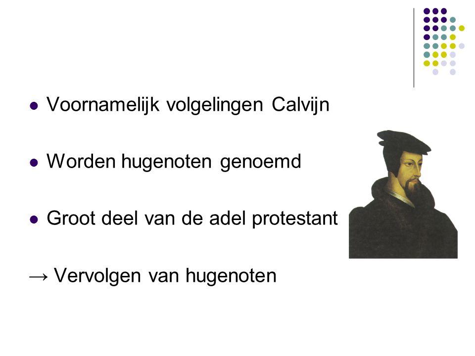 Voornamelijk volgelingen Calvijn Worden hugenoten genoemd Groot deel van de adel protestant → Vervolgen van hugenoten