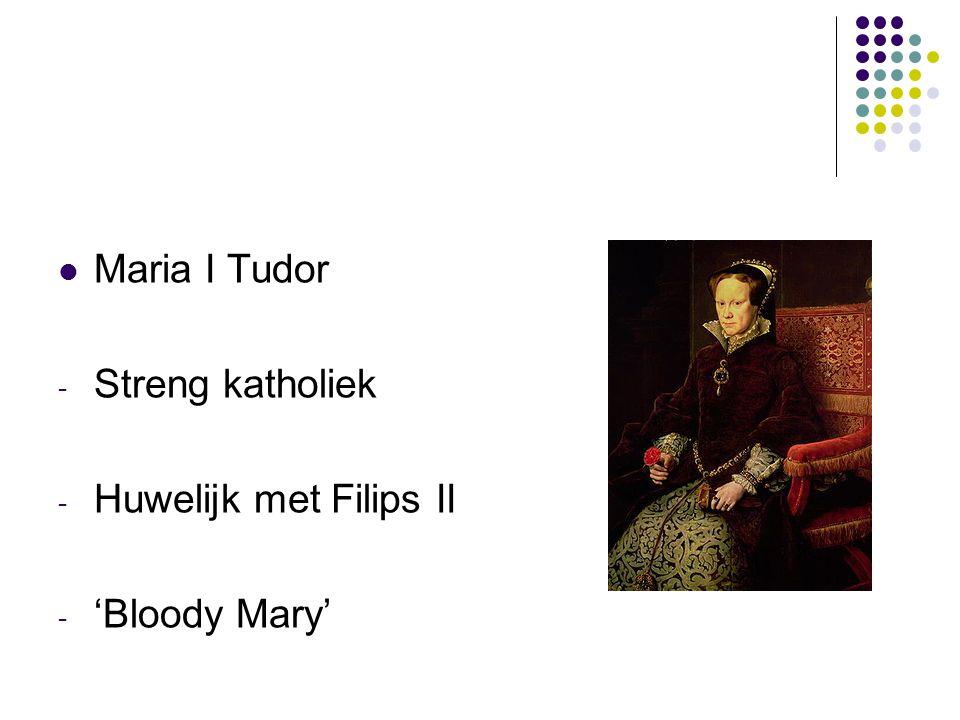 Maria I Tudor - Streng katholiek - Huwelijk met Filips II - 'Bloody Mary'