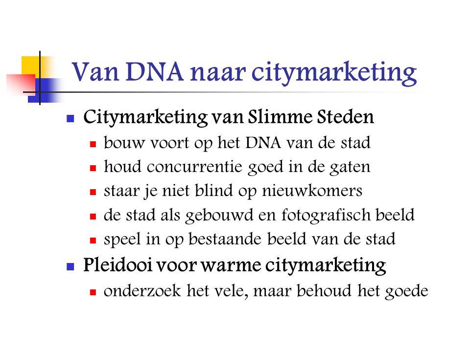 Van DNA naar citymarketing Citymarketing van Slimme Steden bouw voort op het DNA van de stad houd concurrentie goed in de gaten staar je niet blind op