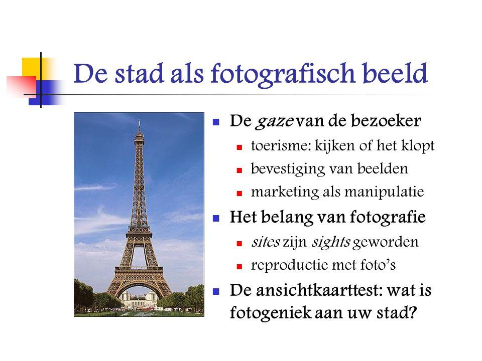 De stad als fotografisch beeld De gaze van de bezoeker toerisme: kijken of het klopt bevestiging van beelden marketing als manipulatie Het belang van