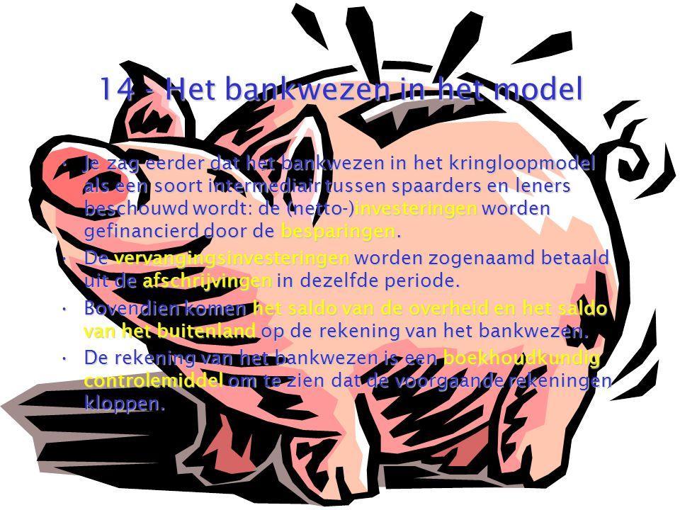 14 - Het bankwezen in het model Je zag eerder dat het bankwezen in het kringloopmodel als een soort intermediair tussen spaarders en leners beschouwd