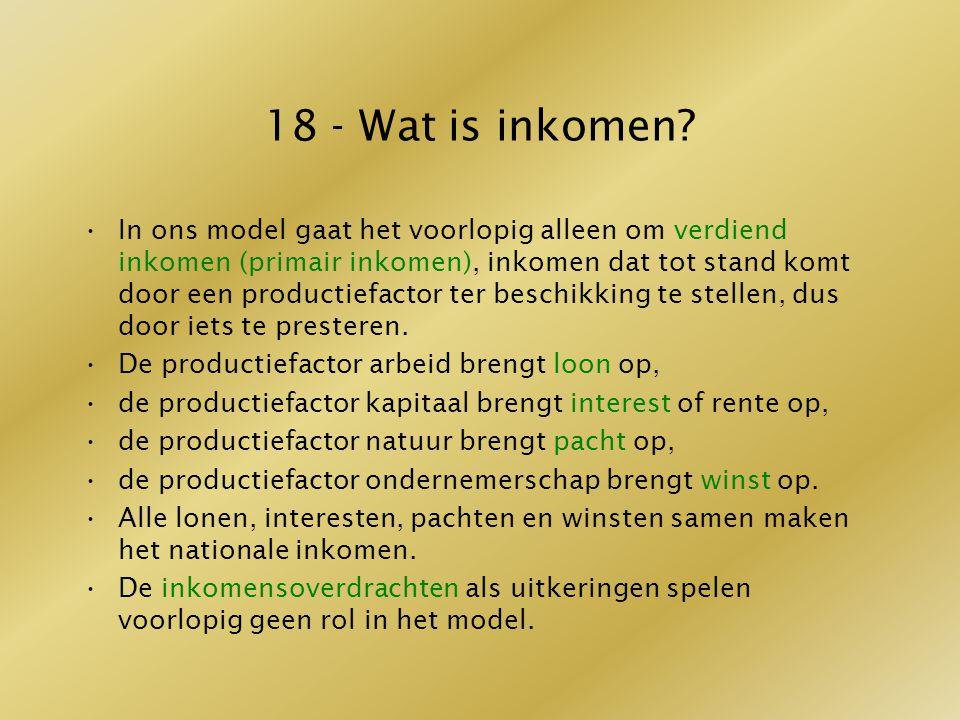 18 - Wat is inkomen? In ons model gaat het voorlopig alleen om verdiend inkomen (primair inkomen), inkomen dat tot stand komt door een productiefactor