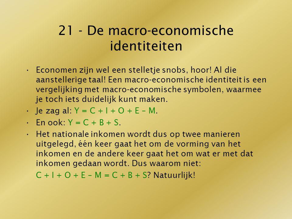 21 - De macro-economische identiteiten Economen zijn wel een stelletje snobs, hoor! Al die aanstellerige taal! Een macro-economische identiteit is een