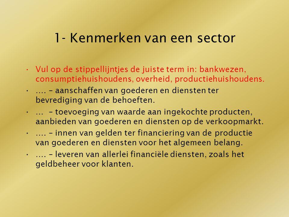 1- Kenmerken van een sector Vul op de stippellijntjes de juiste term in: bankwezen, consumptiehuishoudens, overheid, productiehuishoudens. …. – aansch