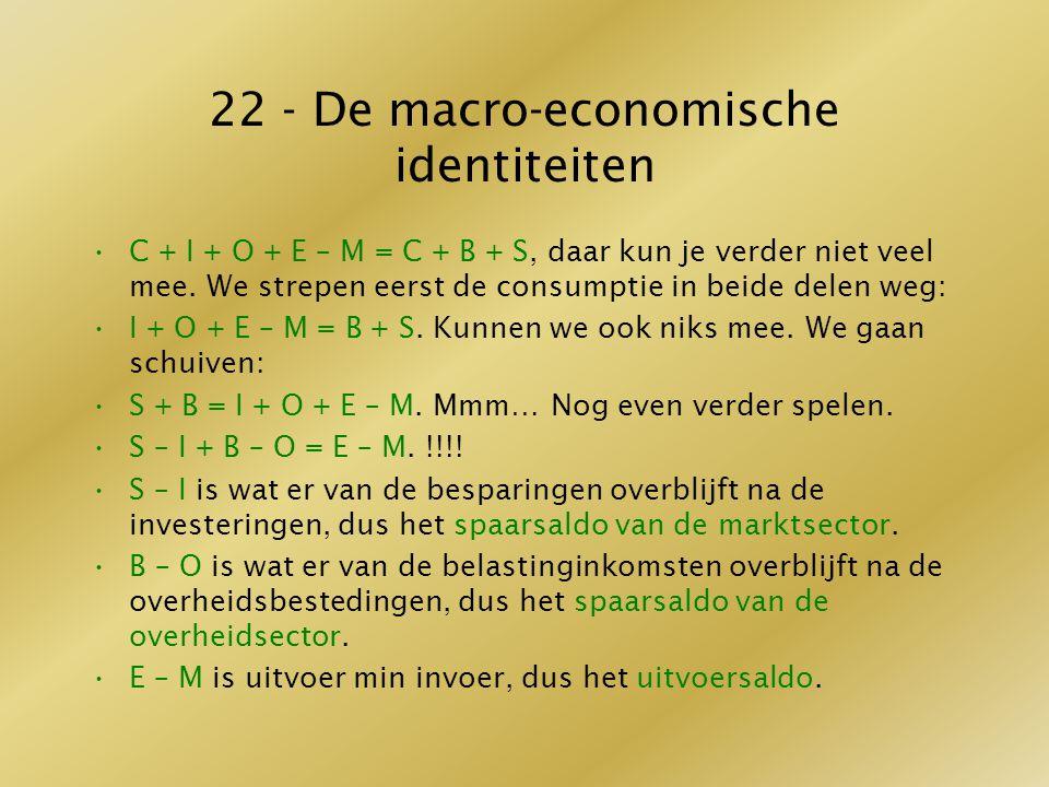 22 - De macro-economische identiteiten C + I + O + E – M = C + B + S, daar kun je verder niet veel mee. We strepen eerst de consumptie in beide delen