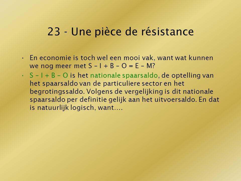 23 - Une pièce de résistance En economie is toch wel een mooi vak, want wat kunnen we nog meer met S – I + B – O = E – M? S – I + B – O is het nationa