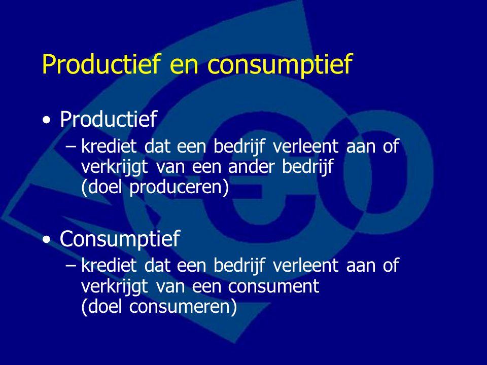 Productief en consumptief Productief –krediet dat een bedrijf verleent aan of verkrijgt van een ander bedrijf (doel produceren) Consumptief –krediet dat een bedrijf verleent aan of verkrijgt van een consument (doel consumeren)