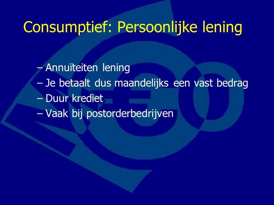 Consumptief: Persoonlijke lening –Annuïteiten lening –Je betaalt dus maandelijks een vast bedrag –Duur krediet –Vaak bij postorderbedrijven