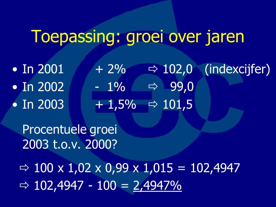 Toepassing: groei over jaren In 2001+ 2% In 2002- 1% In 2003+ 1,5% Procentuele groei 2003 t.o.v. 2000?  102,0 (indexcijfer)  99,0  101,5  100 x 1,