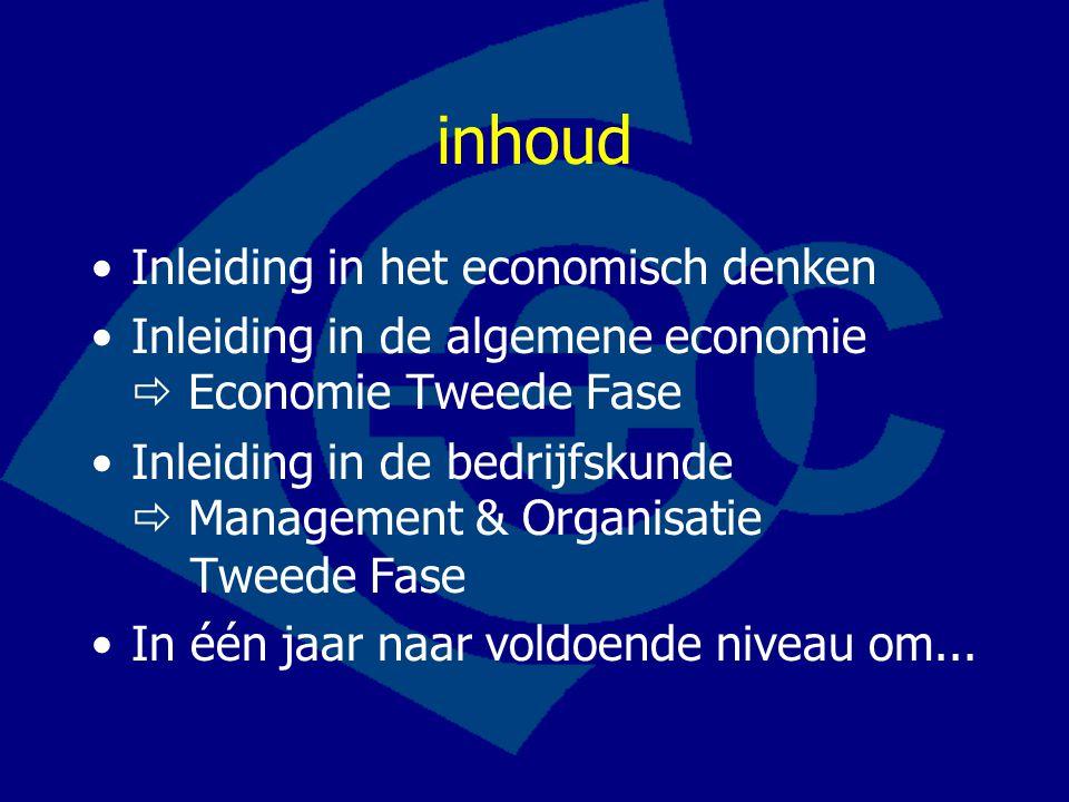 inhoud Inleiding in het economisch denken Inleiding in de algemene economie  Economie Tweede Fase Inleiding in de bedrijfskunde  Management & Organisatie Tweede Fase In één jaar naar voldoende niveau om...