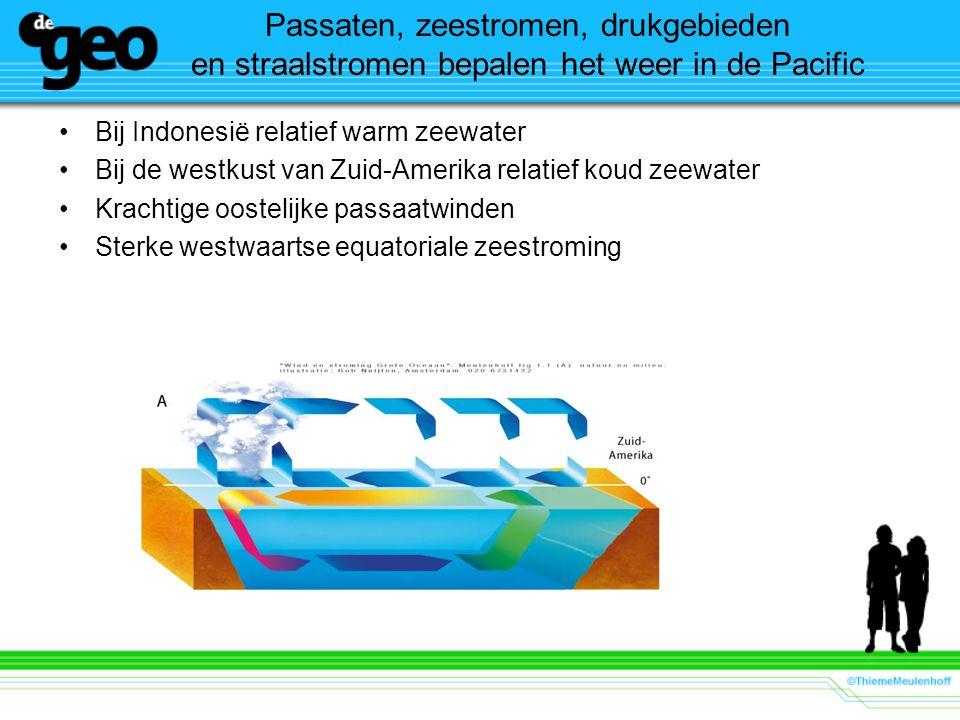 Passaten, zeestromen, drukgebieden en straalstromen bepalen het weer in de Pacific Bij Indonesië relatief warm zeewater Bij de westkust van Zuid-Amerika relatief koud zeewater Krachtige oostelijke passaatwinden Sterke westwaartse equatoriale zeestroming