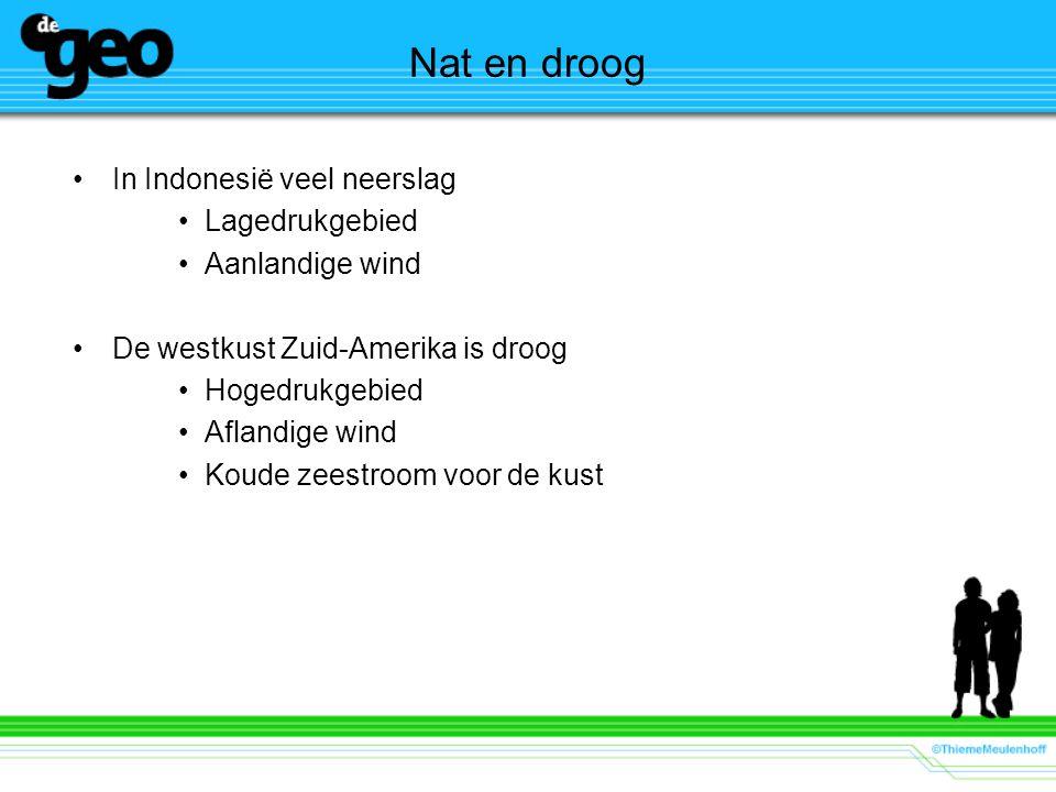 Nat en droog In Indonesië veel neerslag Lagedrukgebied Aanlandige wind De westkust Zuid-Amerika is droog Hogedrukgebied Aflandige wind Koude zeestroom voor de kust
