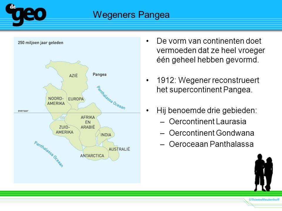 Wegeners Pangea De vorm van continenten doet vermoeden dat ze heel vroeger één geheel hebben gevormd. 1912: Wegener reconstrueert het supercontinent P