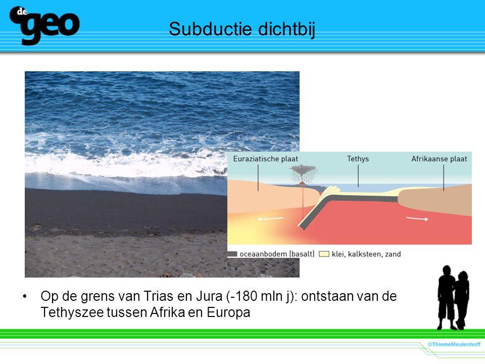 Subductie dichtbij Op de grens van Trias en Jura (-180 mln j): ontstaan van de Tethyszee tussen Afrika en Europa