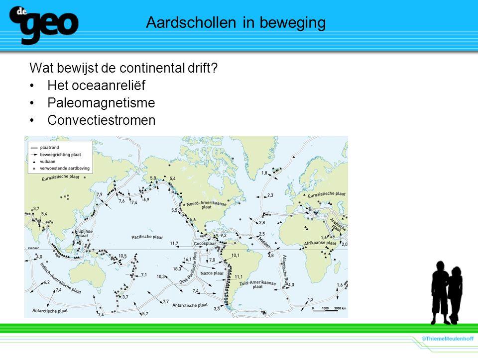 Aardschollen in beweging Wat bewijst de continental drift? Het oceaanreliëf Paleomagnetisme Convectiestromen