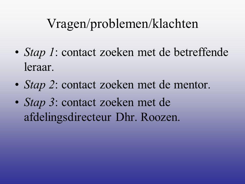 Vragen/problemen/klachten Stap 1: contact zoeken met de betreffende leraar. Stap 2: contact zoeken met de mentor. Stap 3: contact zoeken met de afdeli