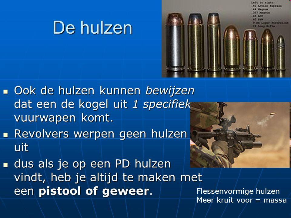 De hulzen Ook de hulzen kunnen bewijzen dat een de kogel uit 1 specifiek vuurwapen komt. Ook de hulzen kunnen bewijzen dat een de kogel uit 1 specifie
