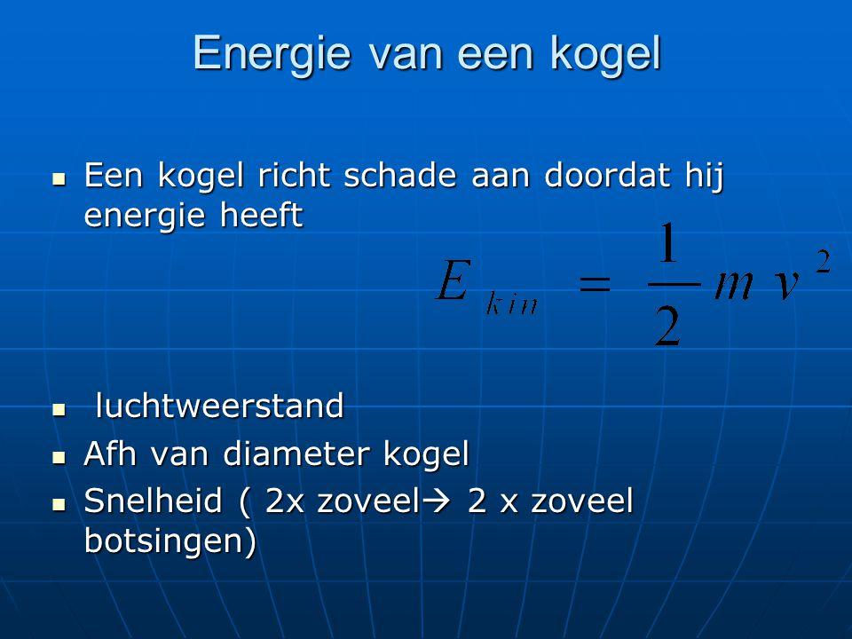 Energie van een kogel Een kogel richt schade aan doordat hij energie heeft Een kogel richt schade aan doordat hij energie heeft luchtweerstand luchtweerstand Afh van diameter kogel Afh van diameter kogel Snelheid ( 2x zoveel  2 x zoveel botsingen) Snelheid ( 2x zoveel  2 x zoveel botsingen)