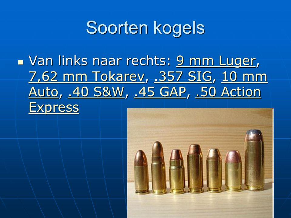 Soorten kogels Van links naar rechts: 9 mm Luger, 7,62 mm Tokarev,.357 SIG, 10 mm Auto,.40 S&W,.45 GAP,.50 Action Express Van links naar rechts: 9 mm