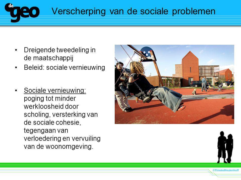 Verscherping van de sociale problemen Dreigende tweedeling in de maatschappij Beleid: sociale vernieuwing Sociale vernieuwing: poging tot minder werkl