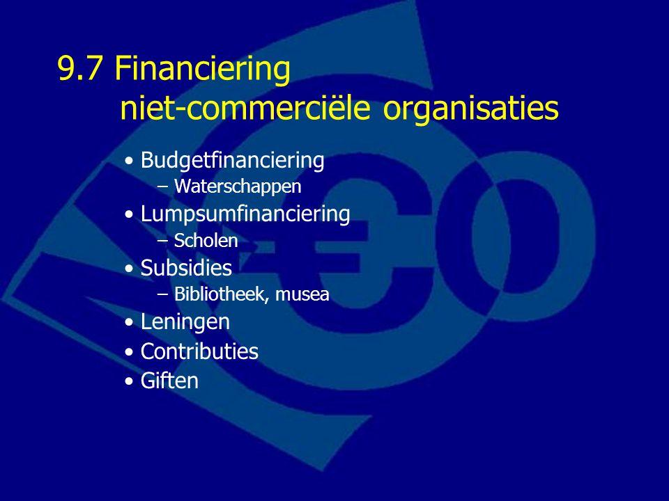9.7 Financiering niet-commerciële organisaties Budgetfinanciering –Waterschappen Lumpsumfinanciering –Scholen Subsidies –Bibliotheek, musea Leningen Contributies Giften
