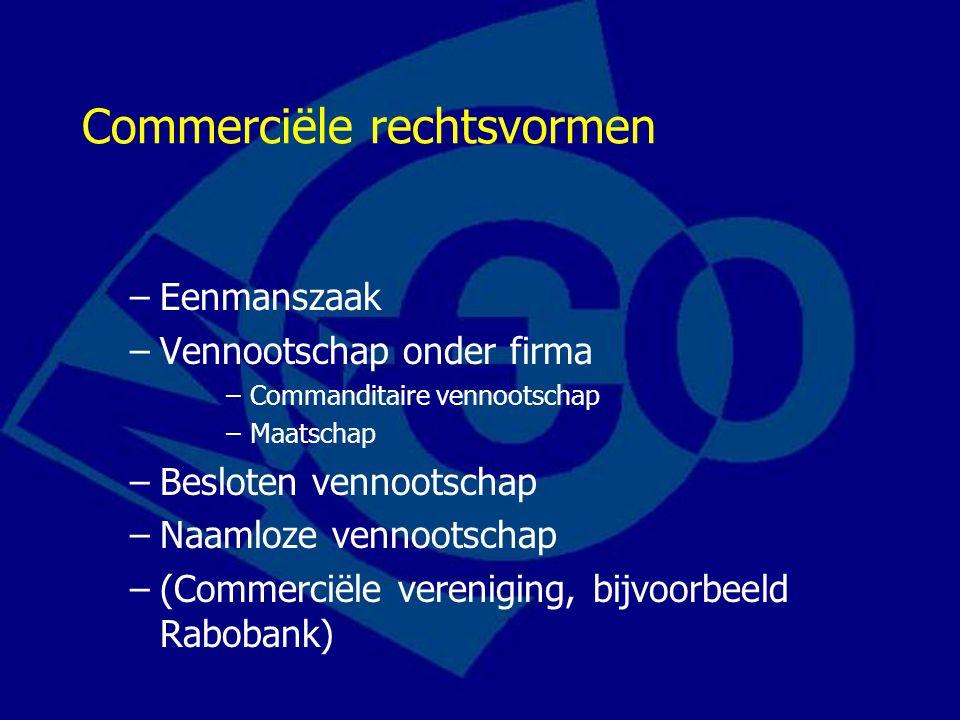 Commerciële rechtsvormen –Eenmanszaak –Vennootschap onder firma –Commanditaire vennootschap –Maatschap –Besloten vennootschap –Naamloze vennootschap –(Commerciële vereniging, bijvoorbeeld Rabobank)