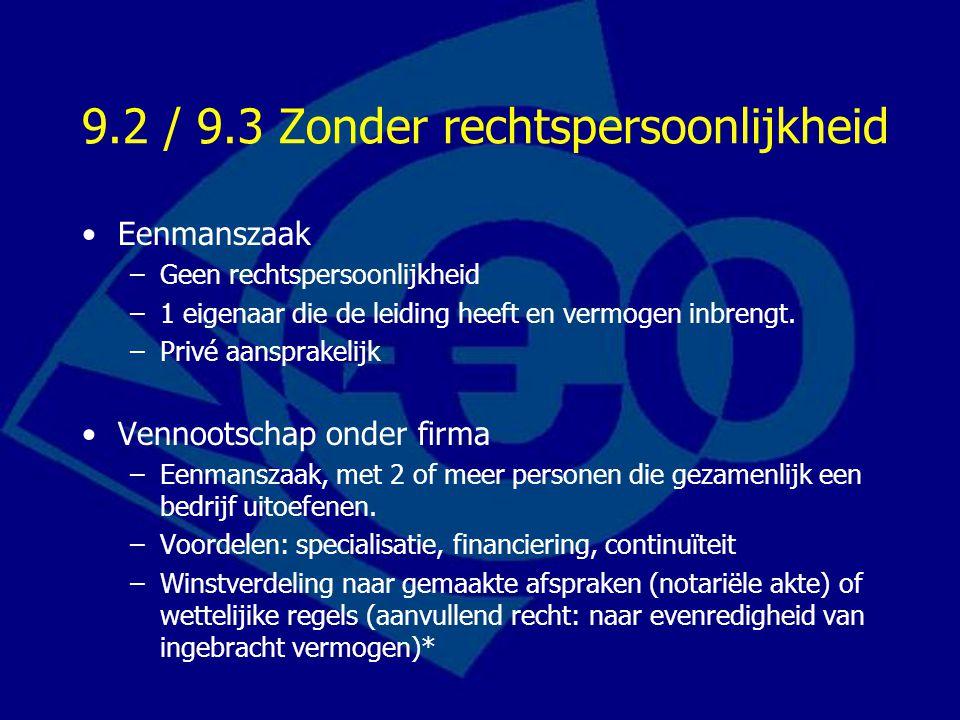 9.2 / 9.3 Zonder rechtspersoonlijkheid Eenmanszaak –Geen rechtspersoonlijkheid –1 eigenaar die de leiding heeft en vermogen inbrengt.
