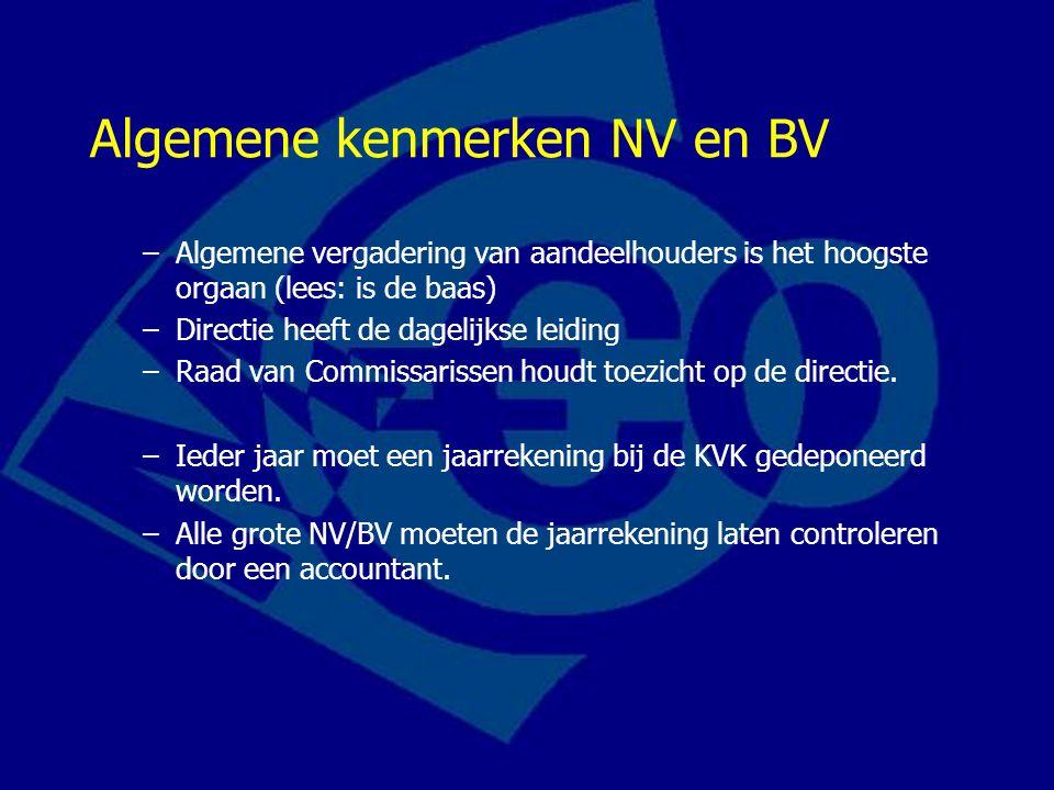 Algemene kenmerken NV en BV –Algemene vergadering van aandeelhouders is het hoogste orgaan (lees: is de baas) –Directie heeft de dagelijkse leiding –Raad van Commissarissen houdt toezicht op de directie.
