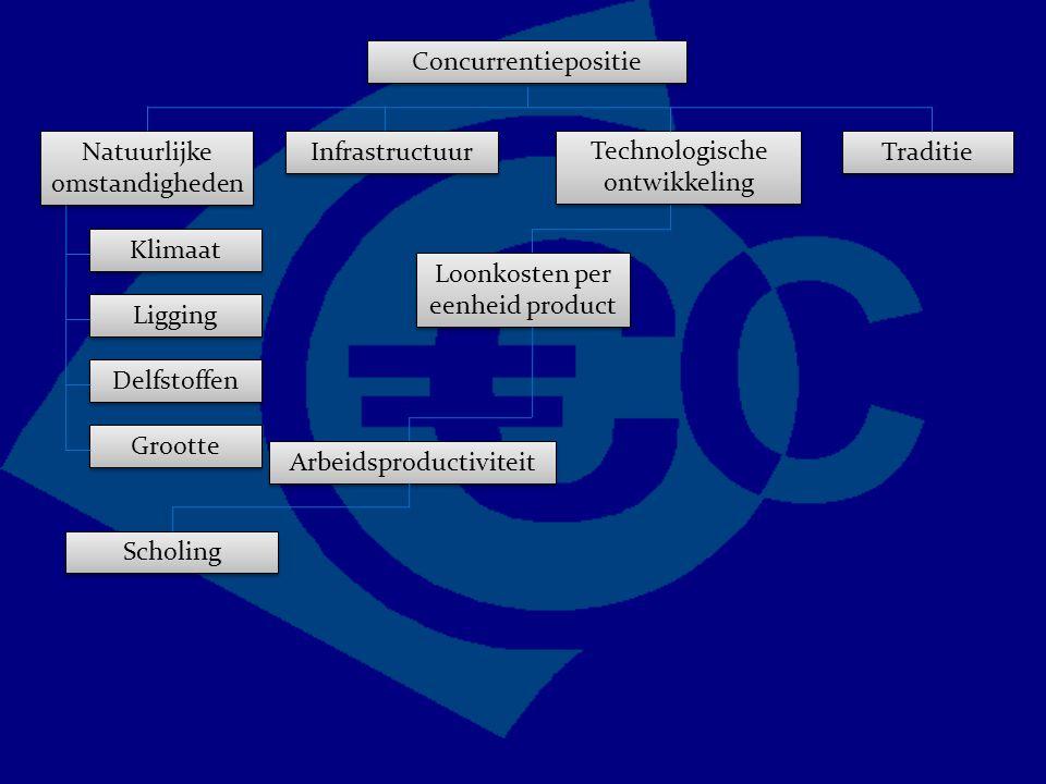 Concurrentiepositie Traditie Technologische ontwikkeling Natuurlijke omstandigheden Infrastructuur Grootte Delfstoffen Ligging Klimaat Loonkosten per eenheid product Arbeidsproductiviteit Scholing