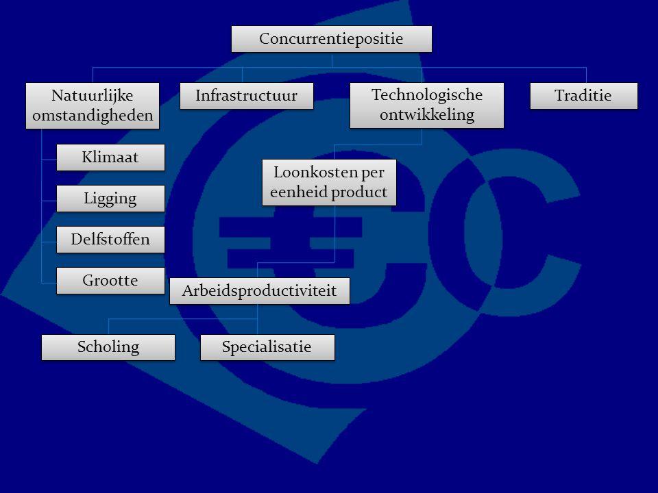 Concurrentiepositie Traditie Technologische ontwikkeling Natuurlijke omstandigheden Infrastructuur Grootte Delfstoffen Ligging Klimaat Loonkosten per eenheid product Arbeidsproductiviteit Scholing Specialisatie