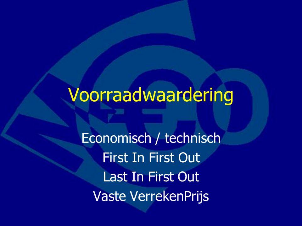 Voorraadwaardering Economisch / technisch First In First Out Last In First Out Vaste VerrekenPrijs