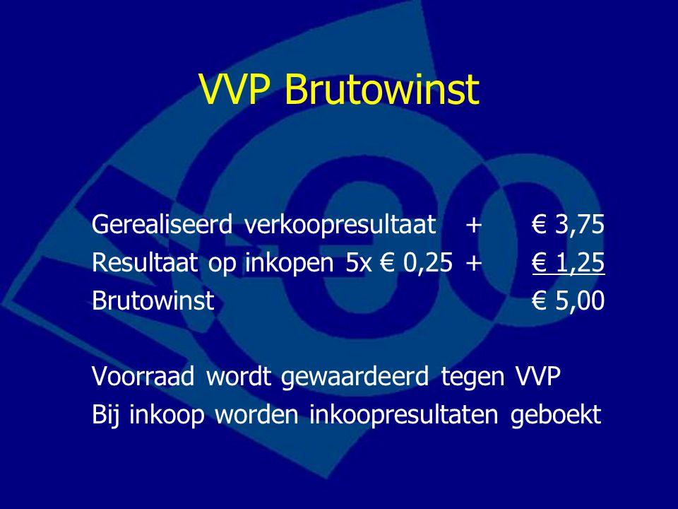 VVP Brutowinst Gerealiseerd verkoopresultaat+€ 3,75 Resultaat op inkopen 5x € 0,25+€ 1,25 Brutowinst€ 5,00 Voorraad wordt gewaardeerd tegen VVP Bij in