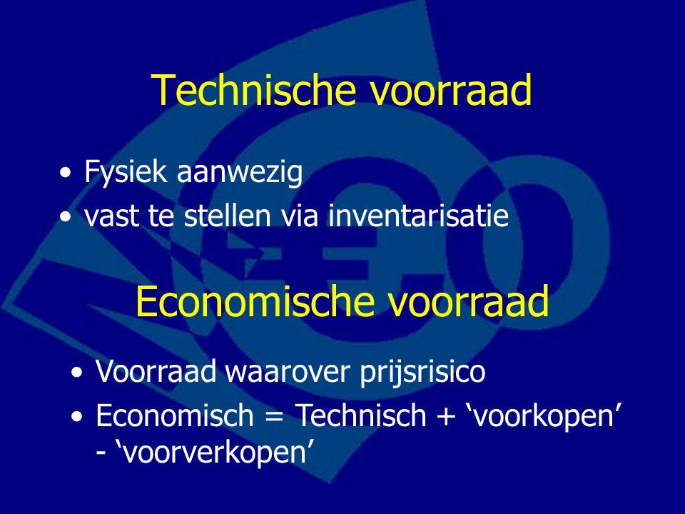 Technische voorraad Fysiek aanwezig vast te stellen via inventarisatie Economische voorraad Voorraad waarover prijsrisico Economisch = Technisch + 'vo