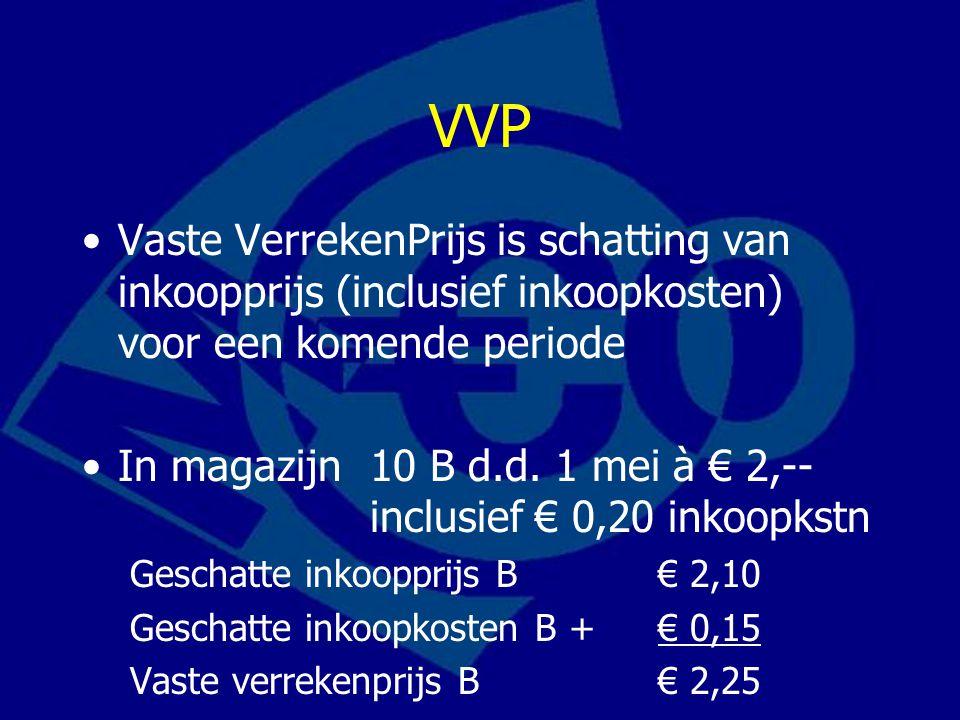 VVP Vaste VerrekenPrijs is schatting van inkoopprijs (inclusief inkoopkosten) voor een komende periode In magazijn 10 B d.d. 1 mei à € 2,-- inclusief