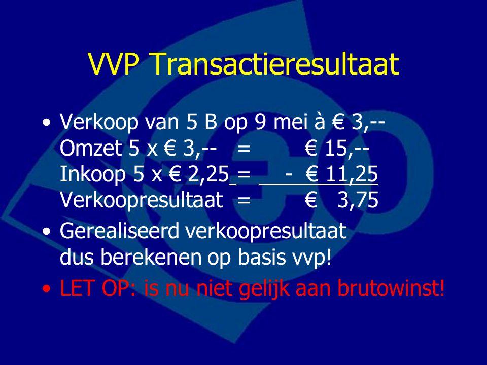 VVP Transactieresultaat Verkoop van 5 B op 9 mei à € 3,-- Omzet 5 x € 3,--= € 15,-- Inkoop 5 x € 2,25= - € 11,25 Verkoopresultaat= € 3,75 Gerealiseerd