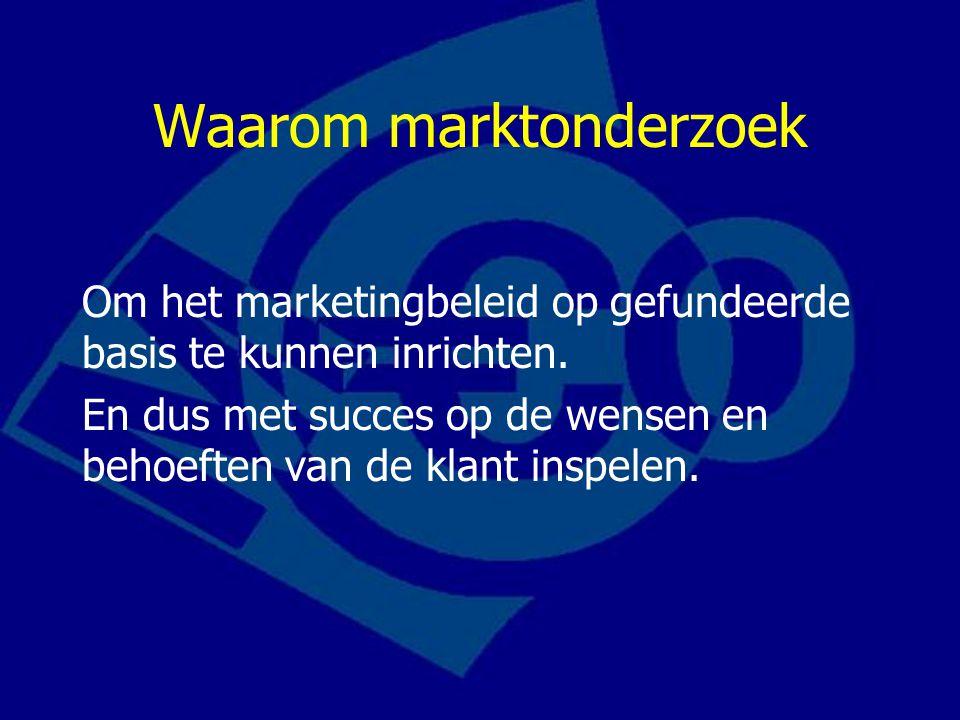 Waarom marktonderzoek Om het marketingbeleid op gefundeerde basis te kunnen inrichten.