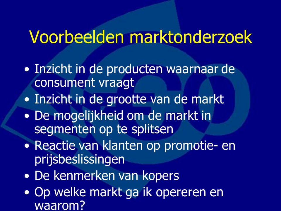 Inzicht in de producten waarnaar de consument vraagt Inzicht in de grootte van de markt De mogelijkheid om de markt in segmenten op te splitsen Reacti
