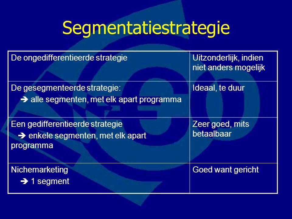 De ongedifferentieerde strategieUitzonderlijk, indien niet anders mogelijk De gesegmenteerde strategie:  alle segmenten, met elk apart programma Idea