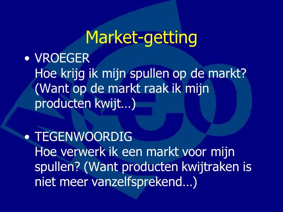 Market-getting VROEGER Hoe krijg ik mijn spullen op de markt? (Want op de markt raak ik mijn producten kwijt…) TEGENWOORDIG Hoe verwerk ik een markt v
