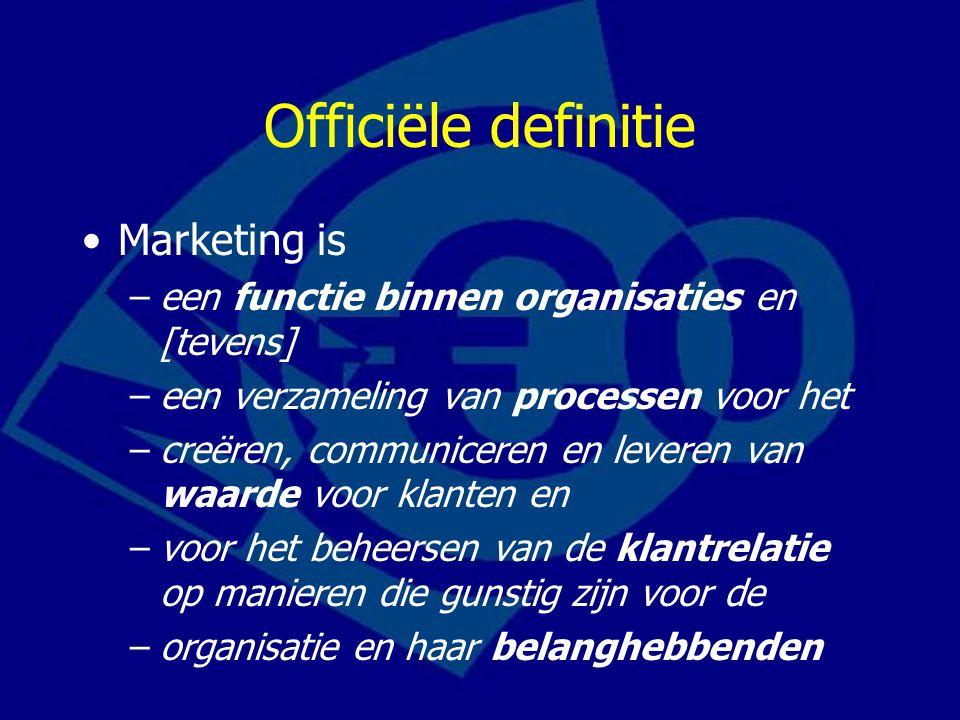 Officiële definitie Marketing is –een functie binnen organisaties en [tevens] –een verzameling van processen voor het –creëren, communiceren en leveren van waarde voor klanten en –voor het beheersen van de klantrelatie op manieren die gunstig zijn voor de –organisatie en haar belanghebbenden