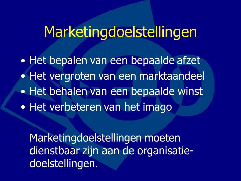 Marketingdoelstellingen Het bepalen van een bepaalde afzet Het vergroten van een marktaandeel Het behalen van een bepaalde winst Het verbeteren van het imago Marketingdoelstellingen moeten dienstbaar zijn aan de organisatie- doelstellingen.