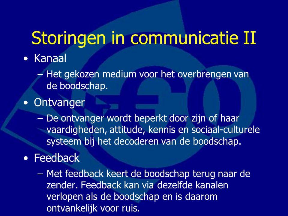Storingen in communicatie II Kanaal –Het gekozen medium voor het overbrengen van de boodschap. Ontvanger –De ontvanger wordt beperkt door zijn of haar